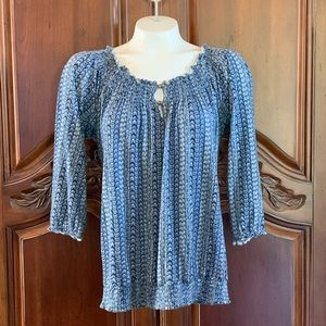 LUCKY BRAND 3/4 Sleeve Peasant Style Blouse